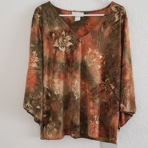 Dress barn plus size fall gold blouse top